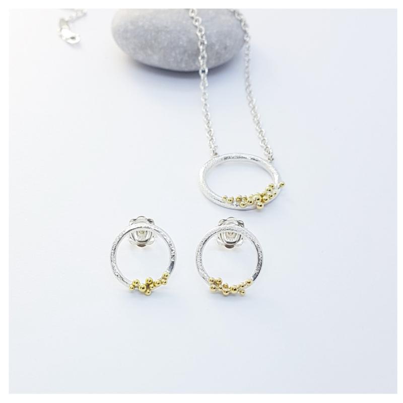 Silver and 18ct Bubble Circle Set