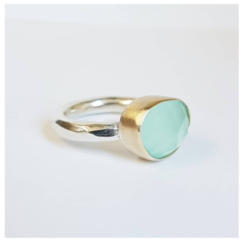 Silver and Gold Aqua Ring