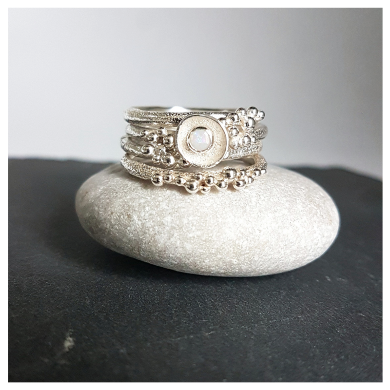 Silver Bubble Stacking Rings and Opal Bubble Ring