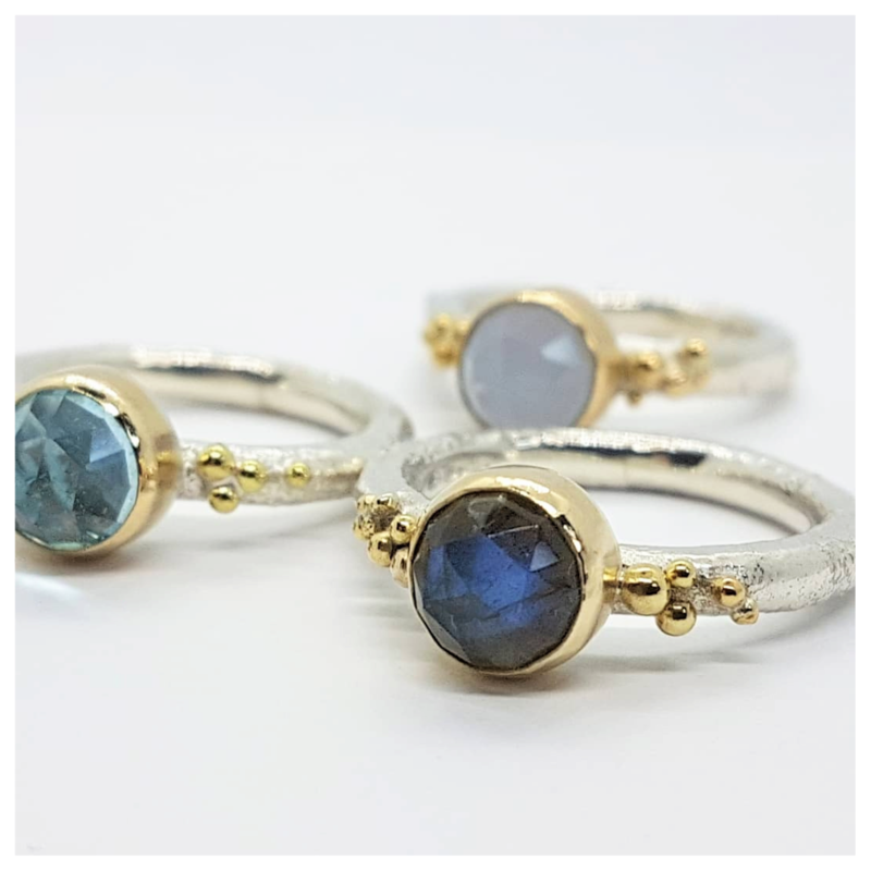 Silver and Gold Bubble Gemstone Rings