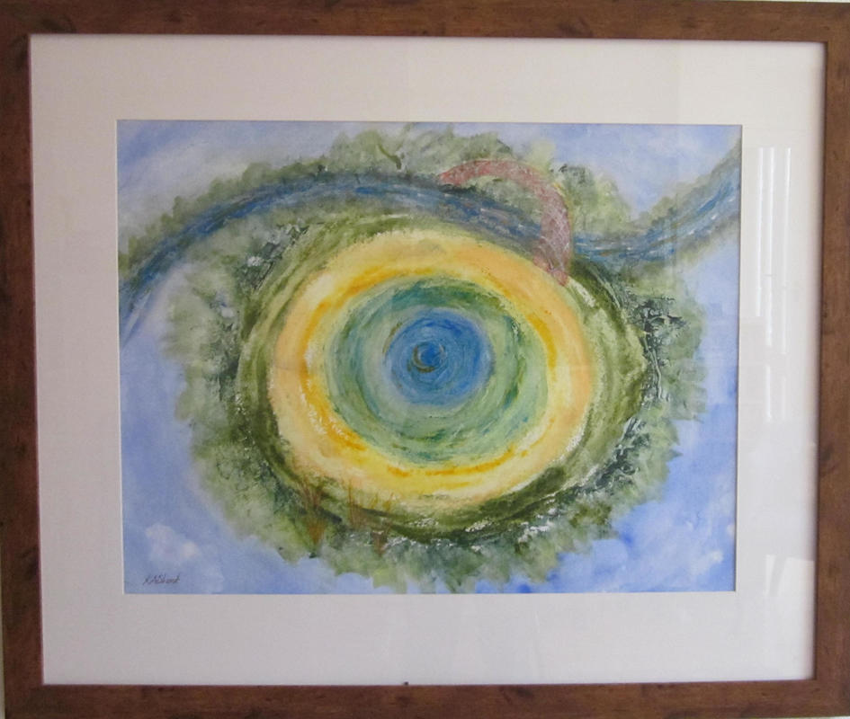 Port Meadow Birds' Eye Abstract - framed watercolour(image 50 x 65 cm) - £180