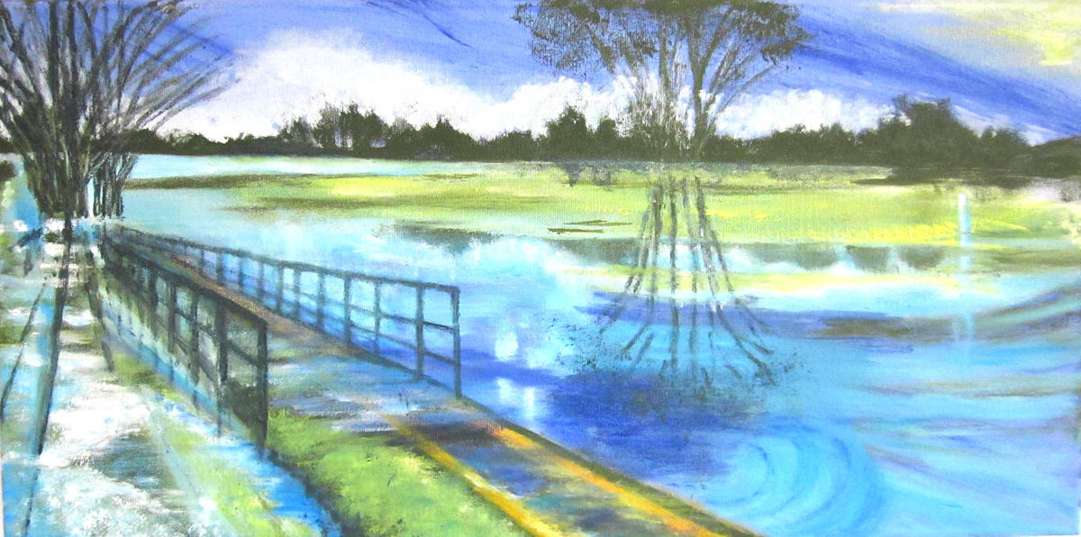 Port Meadow in flood 2 - Oil on box canvas 30 x 60 cm - NFS
