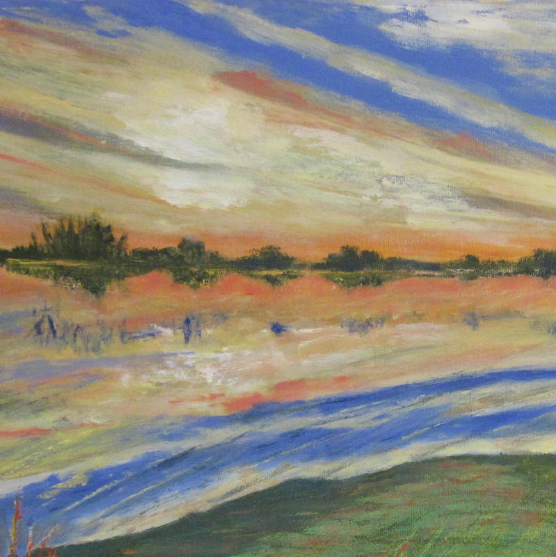 detail from Port Meadow Sunset in Floods - Oil on box canvas 30 x 60 cm - £280