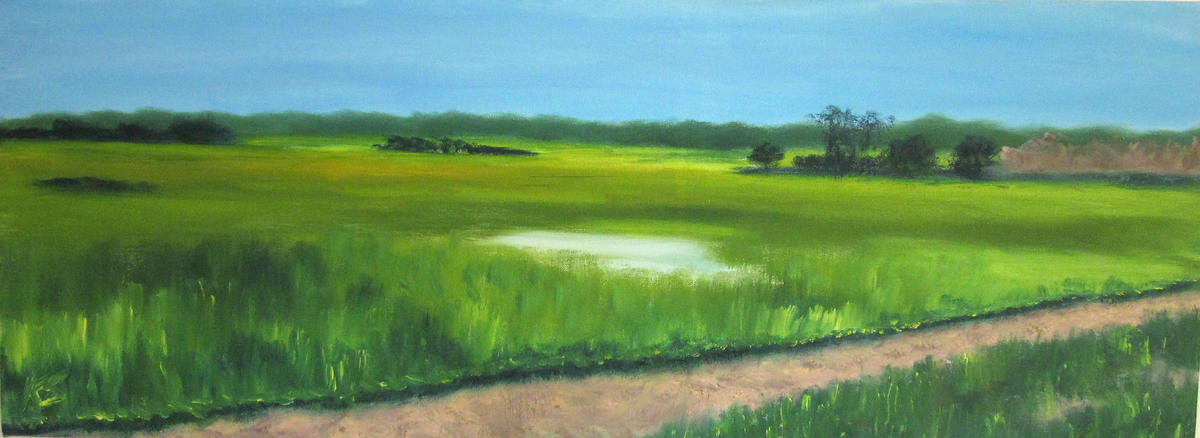 Port Meadow in Summer - Oil on box canvas 30 x 80 cm - £280