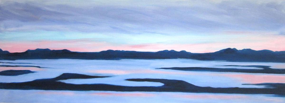 Port Meadow Sunset Flood - Oil on box canvas 30 x 80 cm - £280