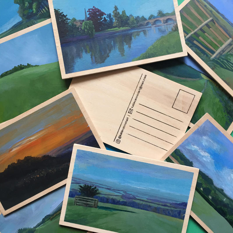 Wooden postcard paintings