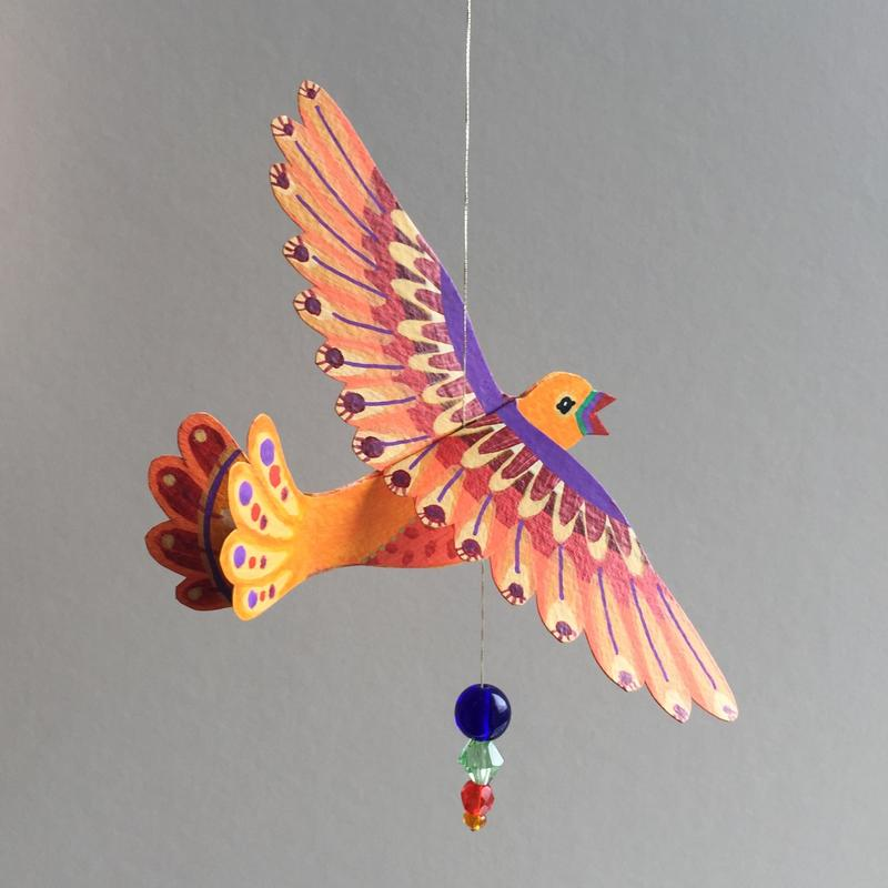 Orange Purple Medium Bird. Acrylic paint and pens on hand-cut watercolour paper, strung with glass beads on metalic thread. Wingspan 12.5cm. £12 (+pp)