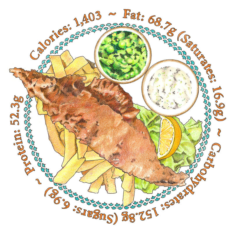 Fish and chips - image approx 190 mm diameter