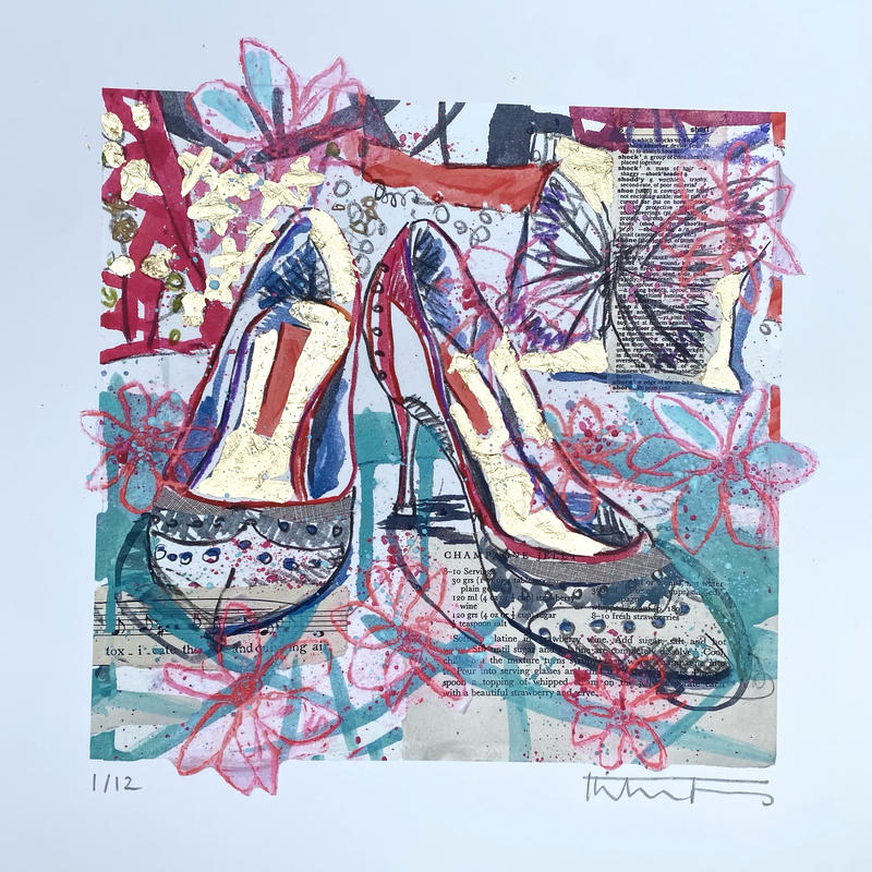 Party shoes gold embellished print with butterfly