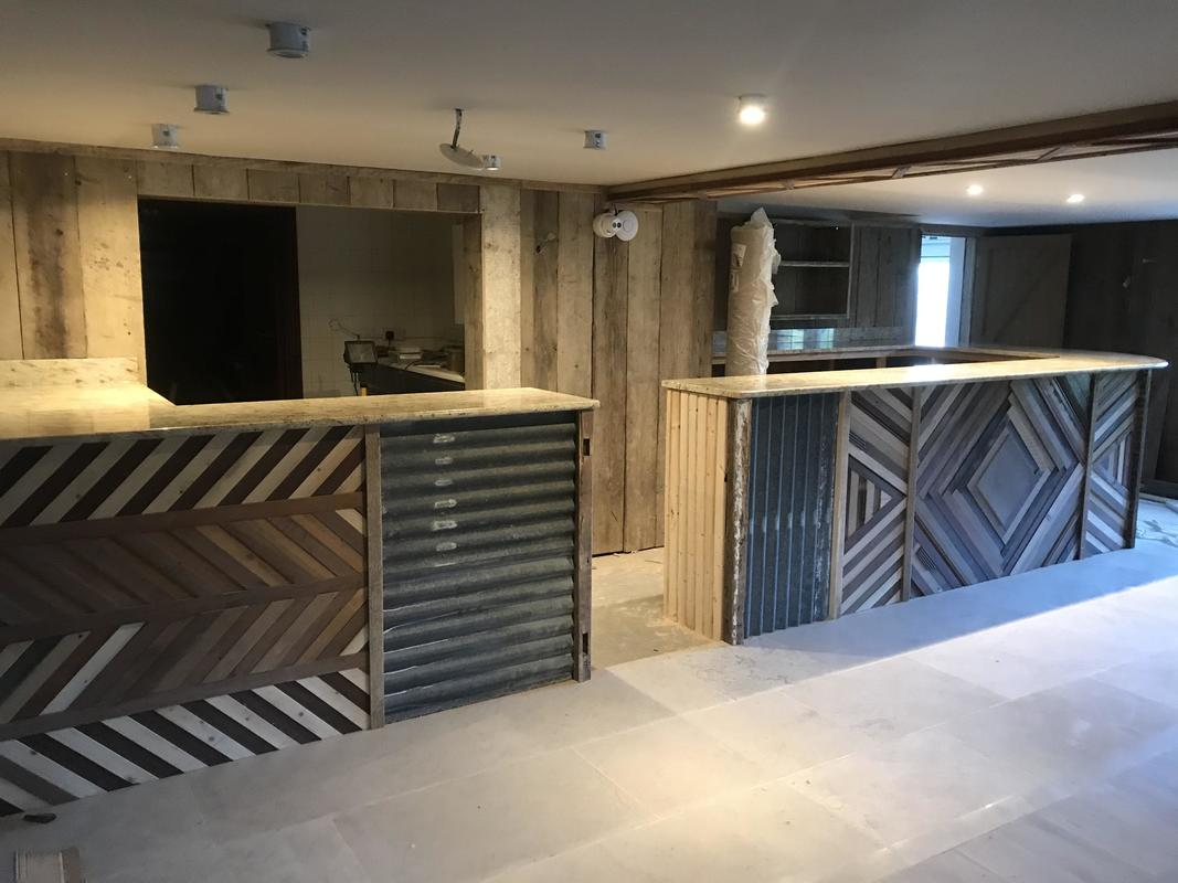 100% reclaimed timber and corrugated bar front at Spire and Spoke
