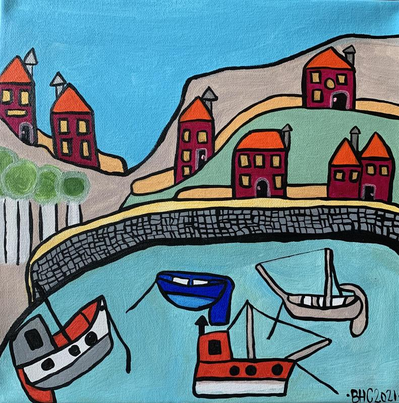 Small Harbour - Acrylic on Canvas - 30.5 cm sq - 65GBP