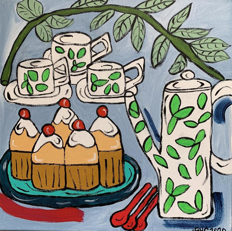 Still Life with Coffee Pot - Acrylic on Box Canvas - 30.cm sq - 65GBP