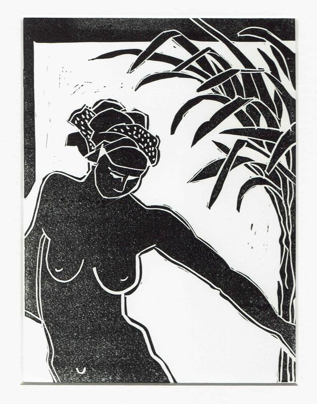 Nude swimmer holding reeds. Linocut.