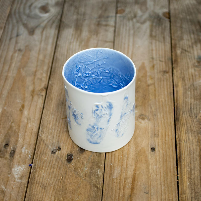 Blue and white textured vessel, parian porcelain