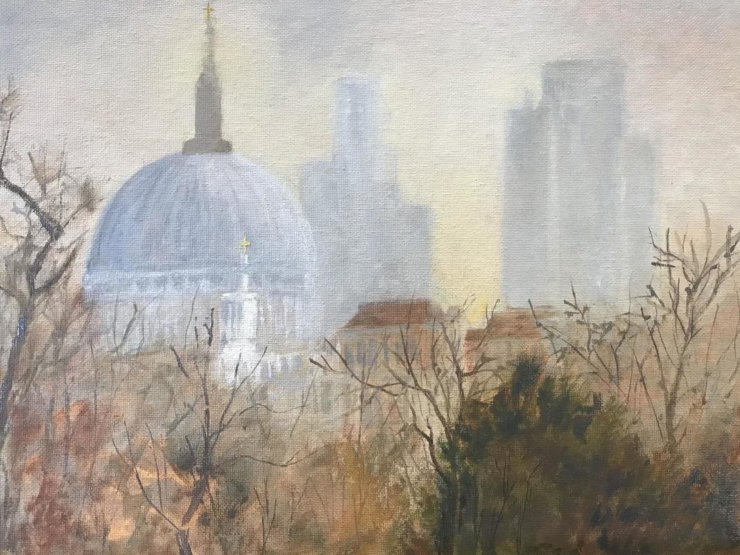 A foggy Autumn day in London; St. Pauls from the terrace at  Somerset House