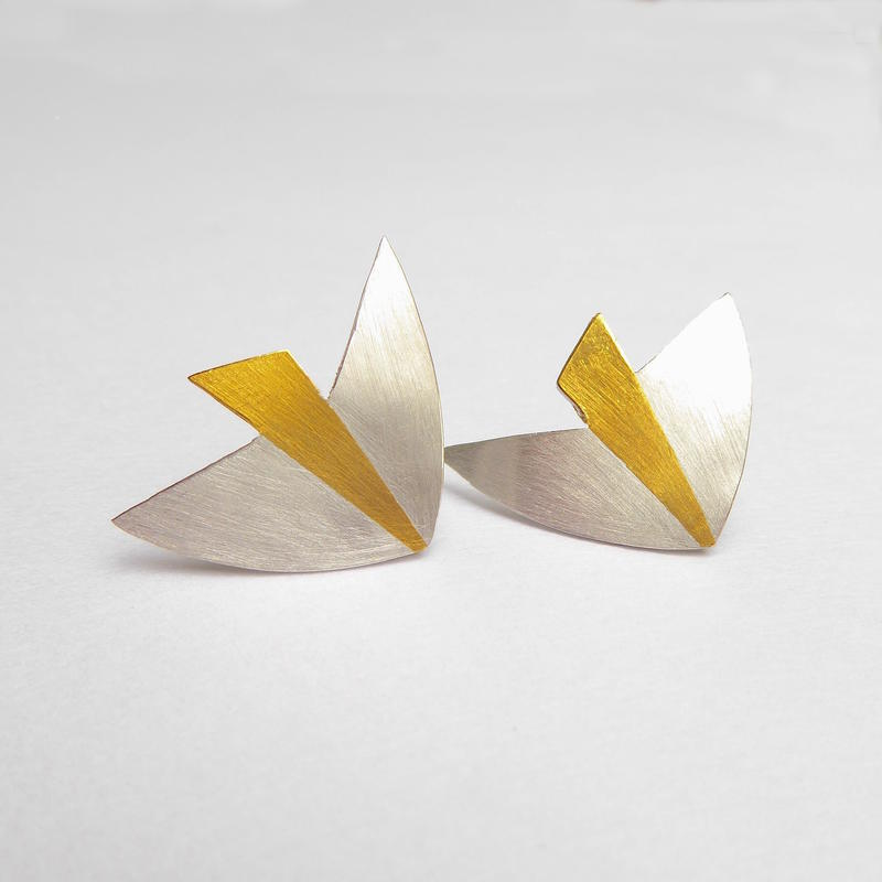 silver and 24ct fused gold bird earrings £135
