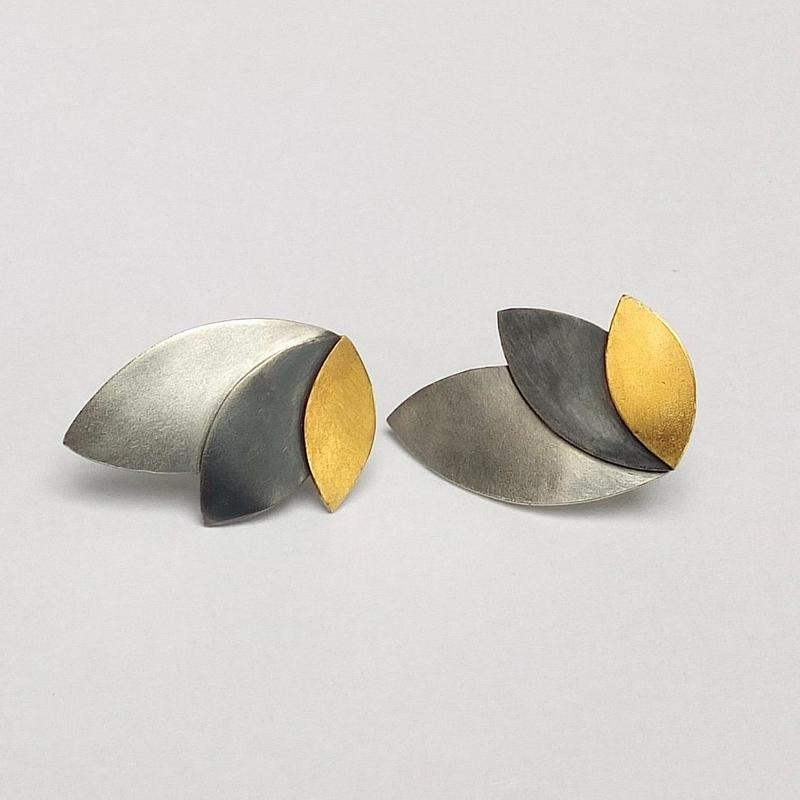 Oxidised silver, 24ct fused gold and silver £125