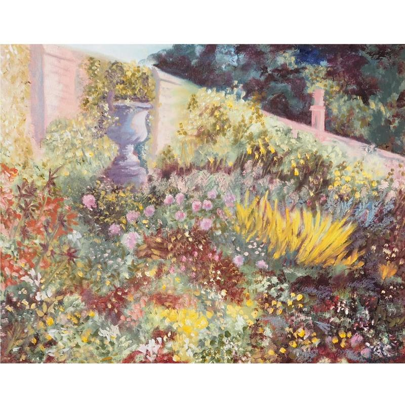 Walled Garden, oil on board 54 x 44cm framed