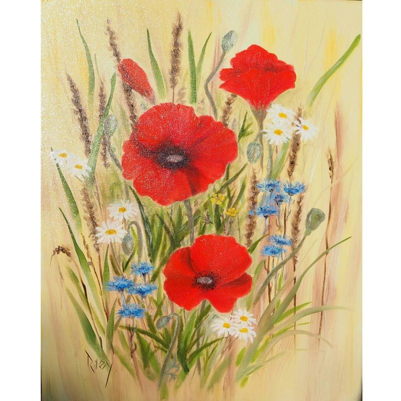 Poppies Oil on Canvas  41 x 51cm