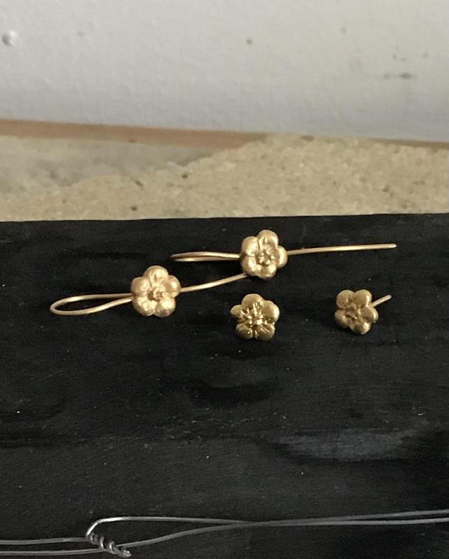 Forget me not earrings, recycled 22ct gold.