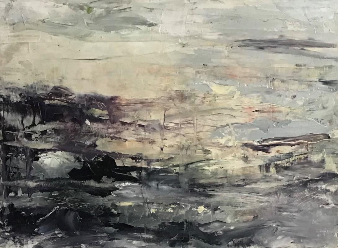 Abstract seascape, oil on board 400 x 300