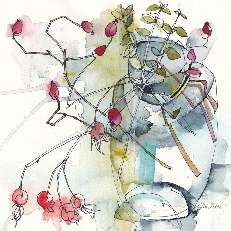 Rose hips and Box hedge, watercolour 22 x 22cm, £225 original, framed. Giclée £35 unframed