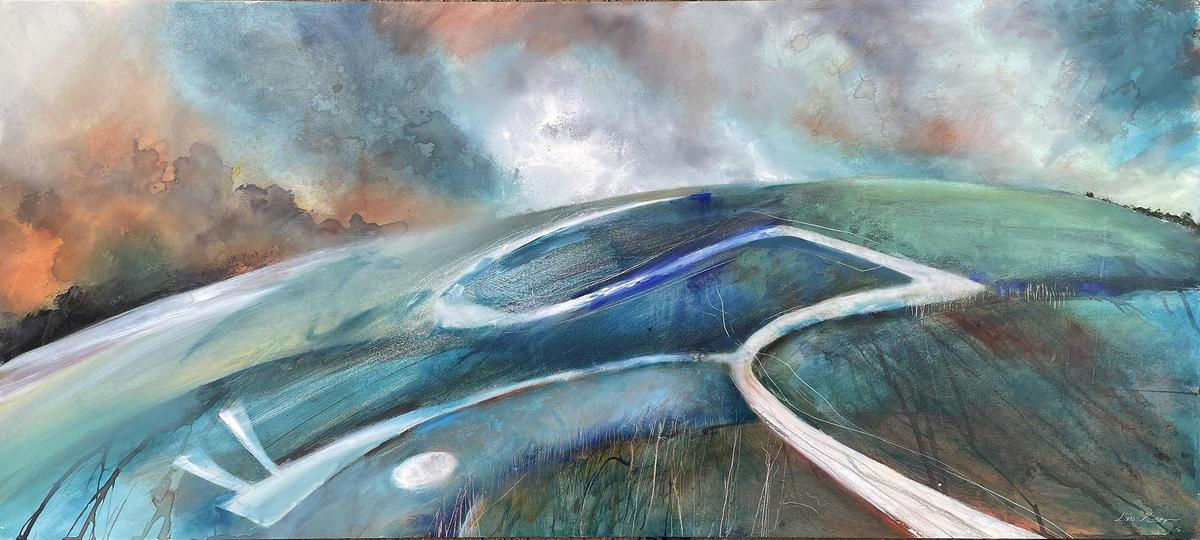 Walking the White Horse, oils, 100cm x 45cm £750 subframe