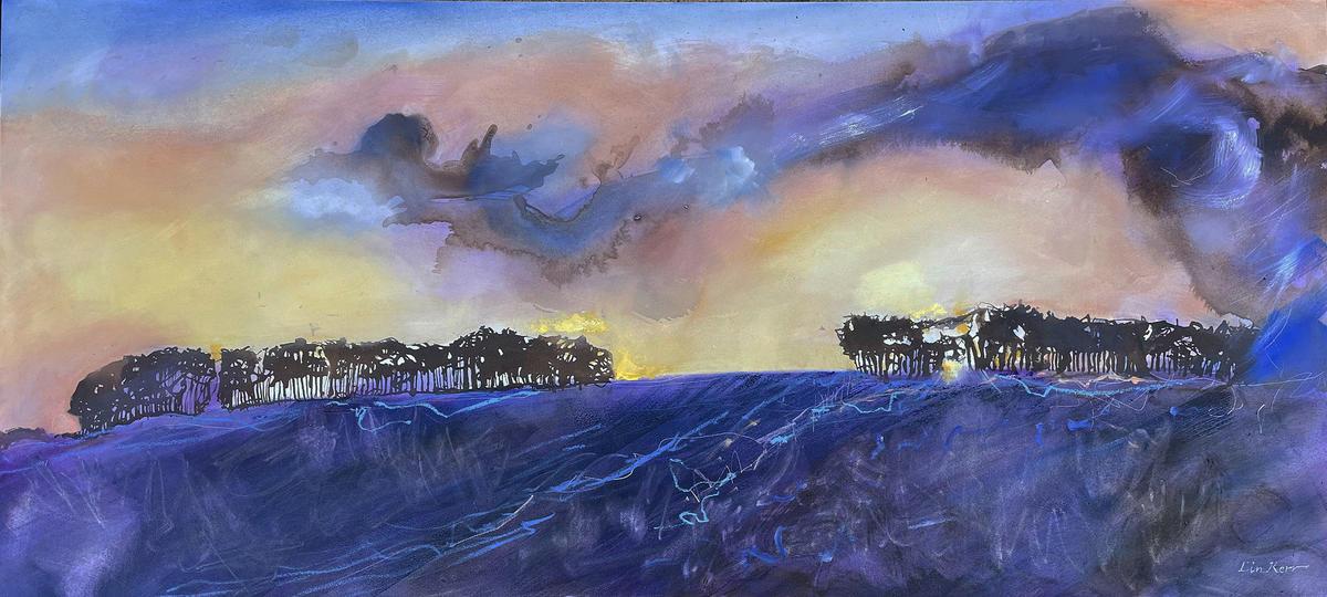 Winter sunset of Holborn Hill, oils, 100cm x 45cm £850, framed