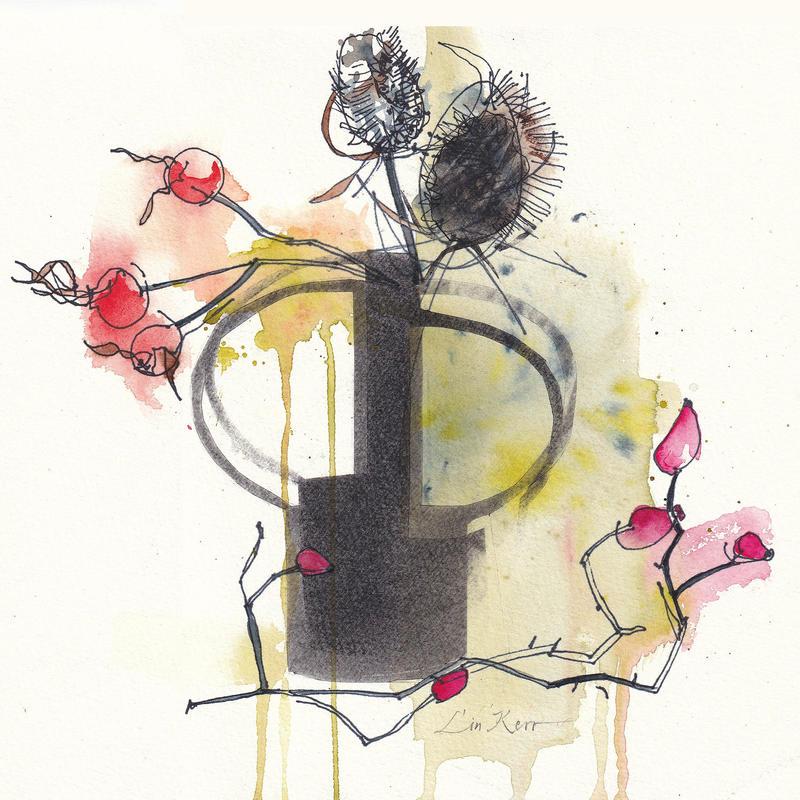 Wild dog-rose hips and teasels, watercolour 22 x 22cm, £225 original, framed. Giclée £35 unframed