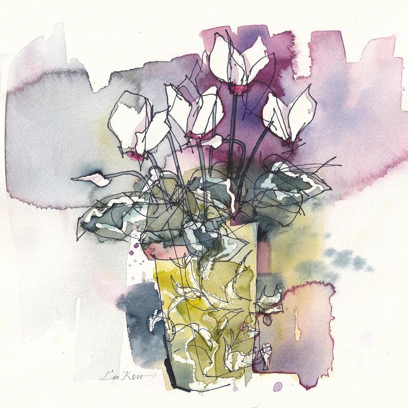 Cyclamen in a green flower pot, watercolour 22 x 22 cm £225 original, framed. Giclée £35 unframed