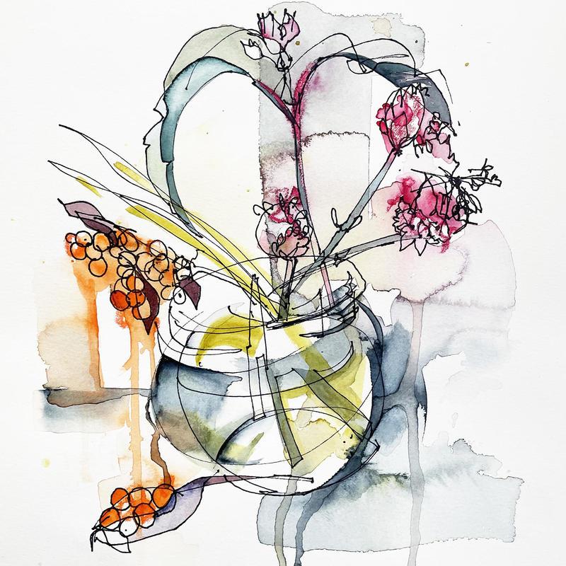 My Winter Garden, watercolour 22 x 22cm. £225 original, framed. Giclée £35 unframed