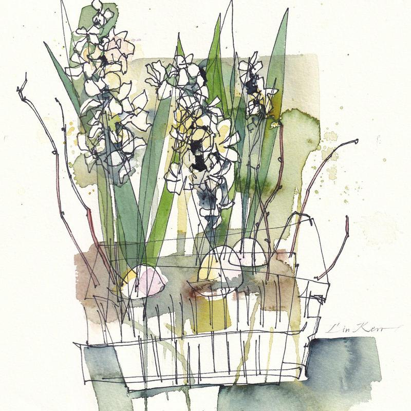 White Hyacinths, , watercolour 22 x 22cm £225 original, framed. Giclée £35 unframed