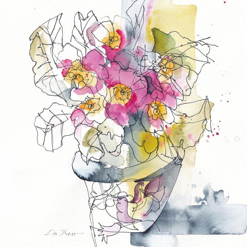 Primula, watercolour 22 x 22cm £225 original, framed. Giclée £35 unframed