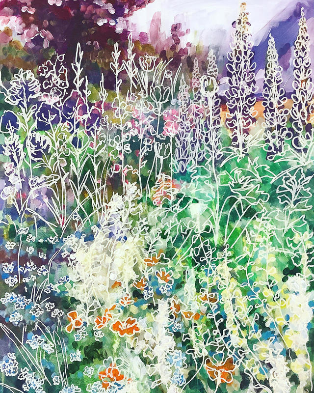 Lupins and Forget-me-nots