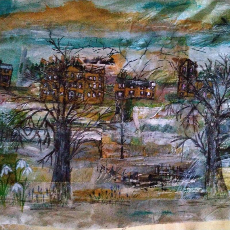 'Aynho Village Collage', paper fabric and paint