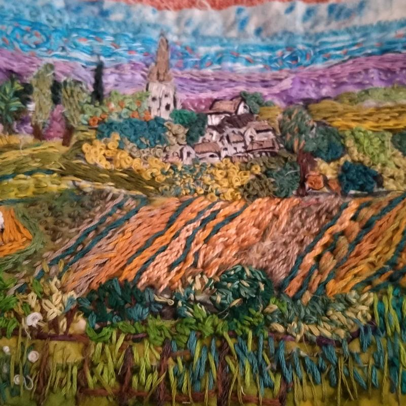 'Lockdown View towards Kings Sutton', painted silk with handstitch