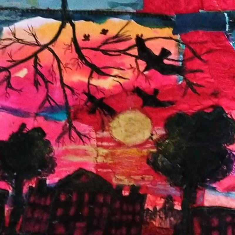 'Sunset over Aynho' collage, paint and stitch on silk and paper