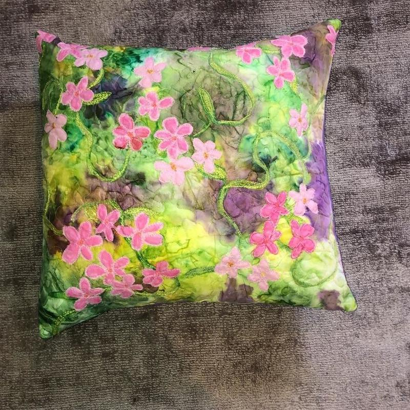 'Summer Flowers', silk cushion with applique and machine stitch