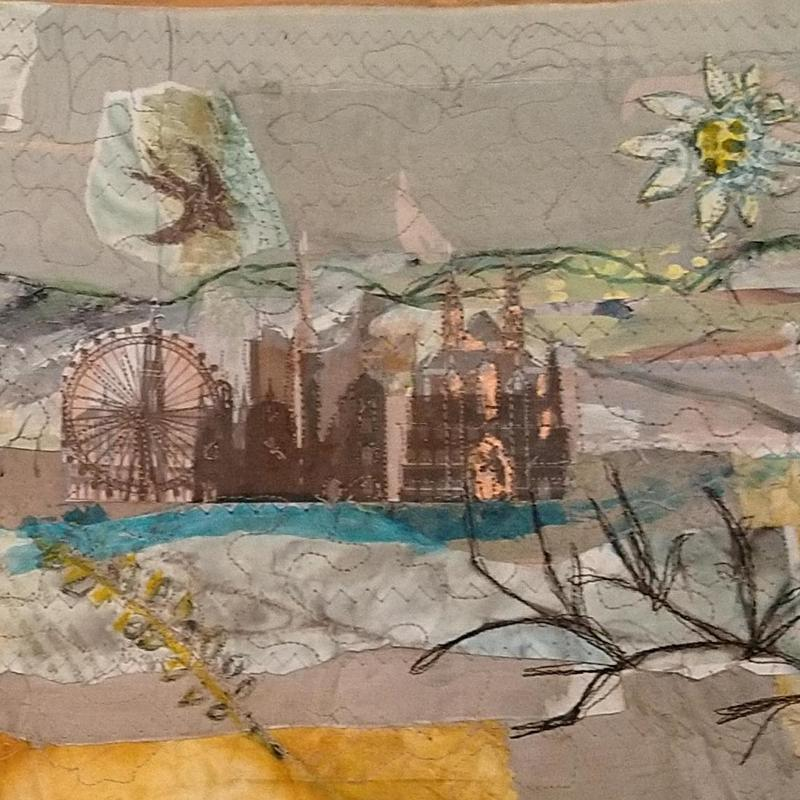 'Vienna' Printed, painted and collaged fabric and paper scroll with wooden scroll rods,