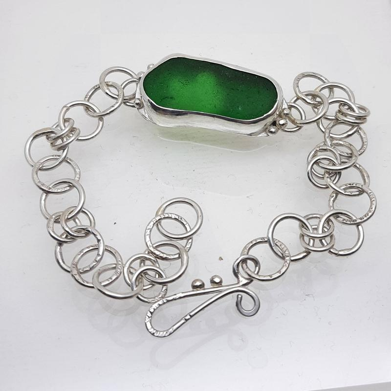 Sea Glass & Silver Bracelet