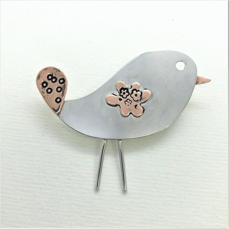 Silver & copper funky bird brooch
