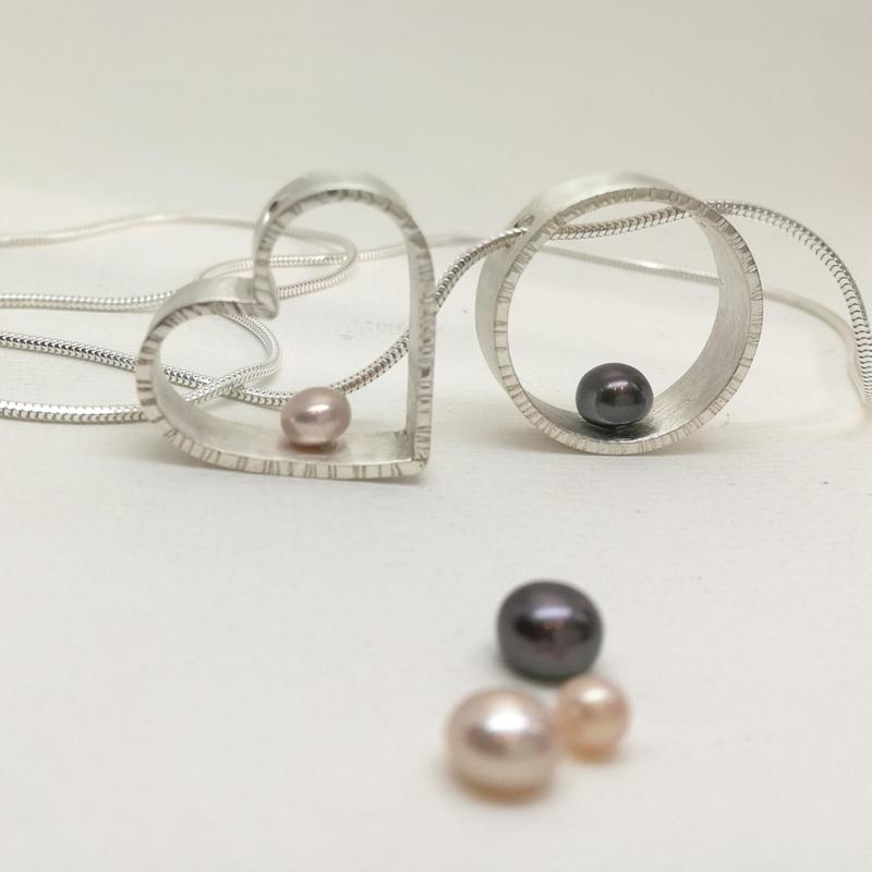 Sterling Silver necklaces set with cultured pearls