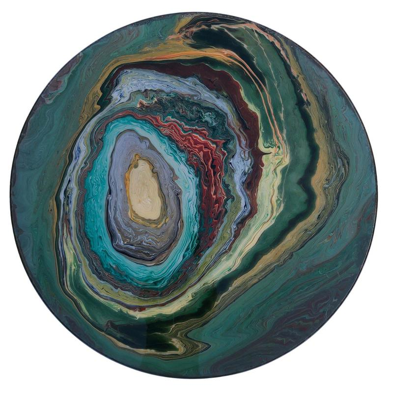 Emerald Geode\ acrylic and resin | 100 x 100 cm