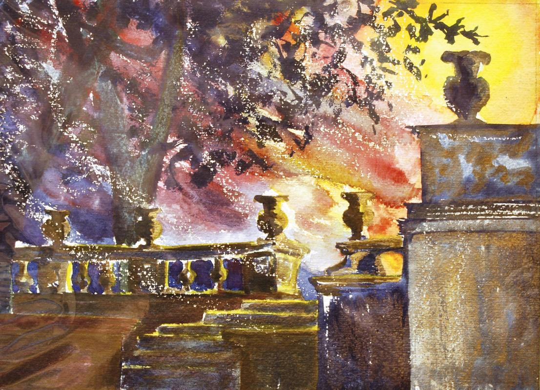 "Castle Ashby Sunset Fantasy. Mixed Media. £200.00 Mounted. 16""*20"""