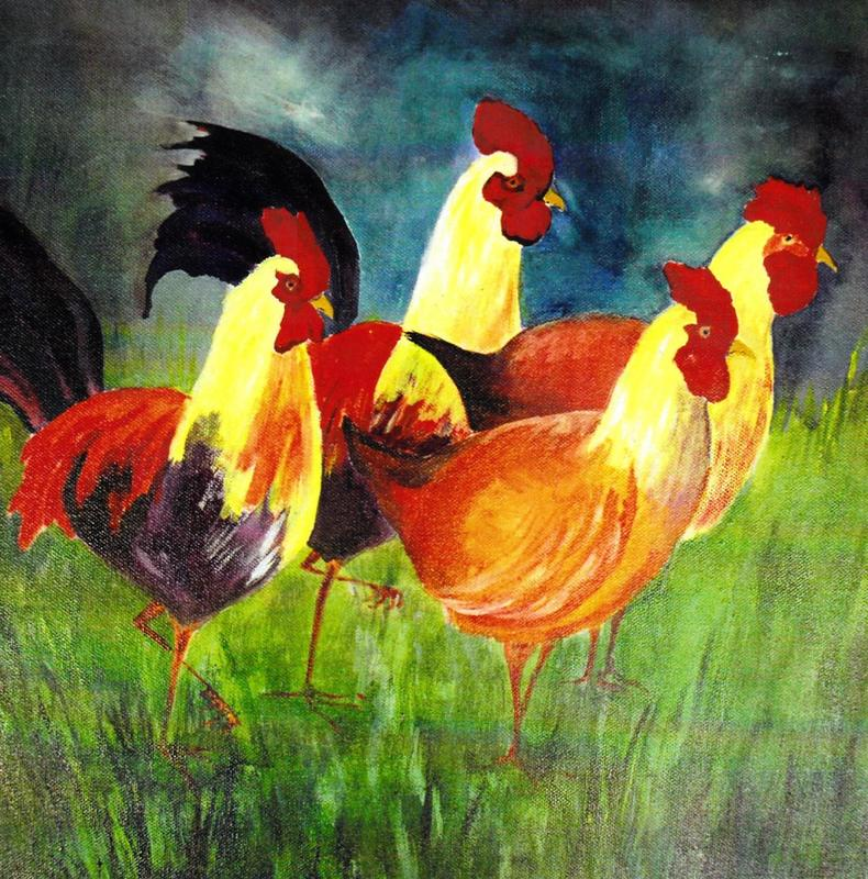 "Chickens on their Morning Promenade. Acrylic on Canvas. £200.00 Unframed 16""*16"""