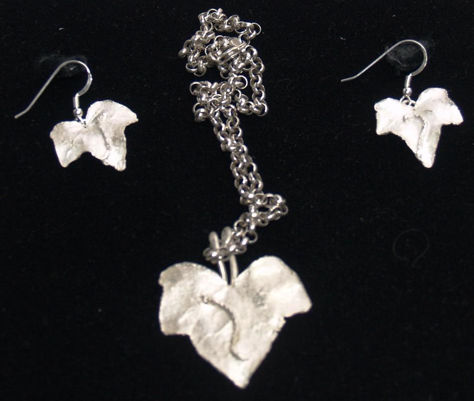 Ivy leaf Necklace and Earrings with Caterpillar Friends. £110.00