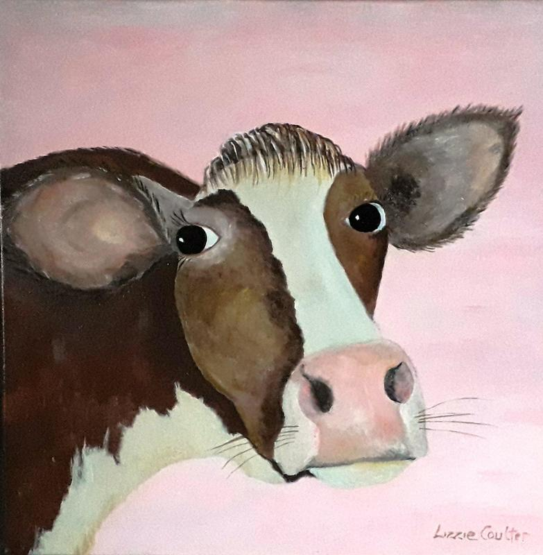 Maude the Comfortable Cow. Acrylic on Canvas. Not For Sale.