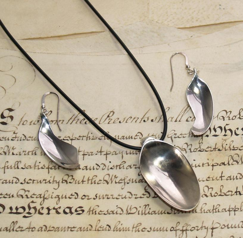 Silver Spoon Pendant and Earrings. £90.00