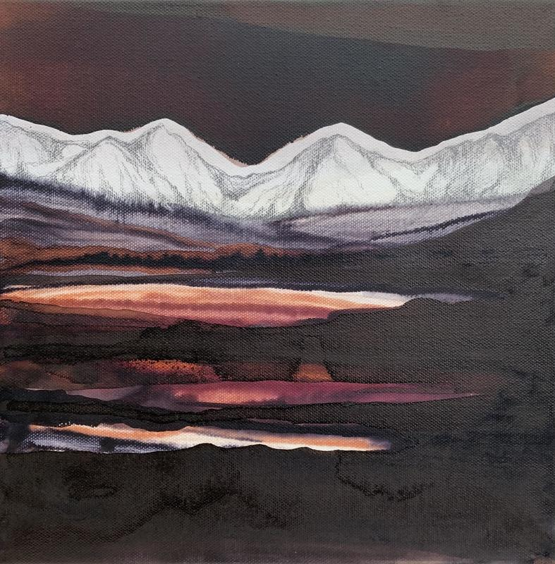'White Mountain. Copper Sky'. Oil, ink and graphite on canvas. 30x30cms. £350