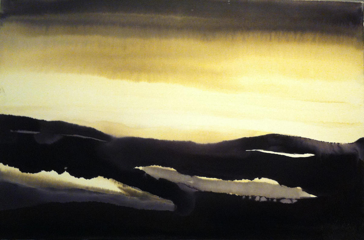 'Memories of Rannoch Moor'. Oil and ink on canvas.